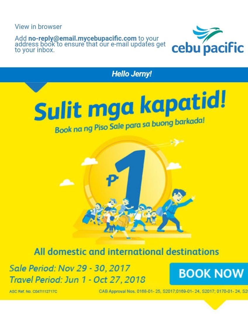 #PisoFareAlert! Cebu Pacific 2-Days PISO FARE SALE!