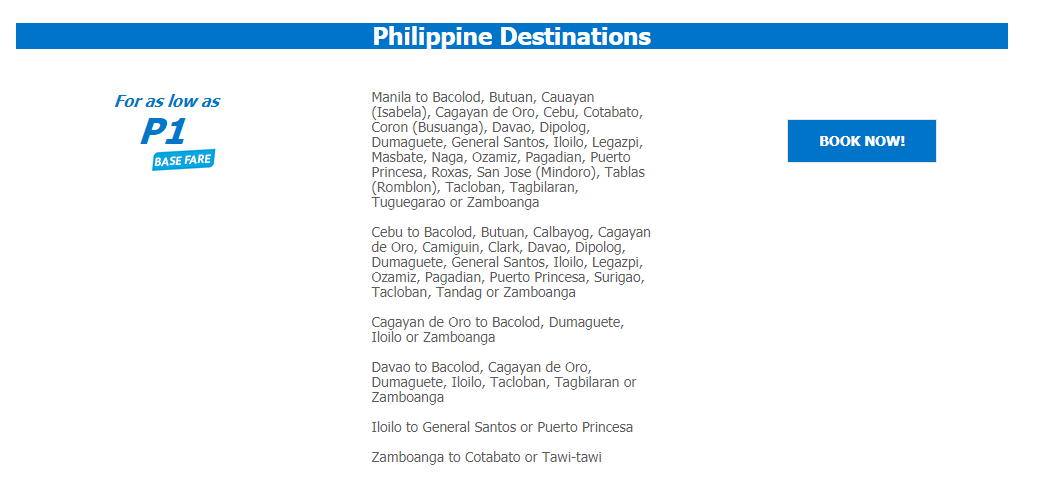 #SEATSALE: Cebu Pacific PISO Fare to ALL Destinations! Book until Sept 13!