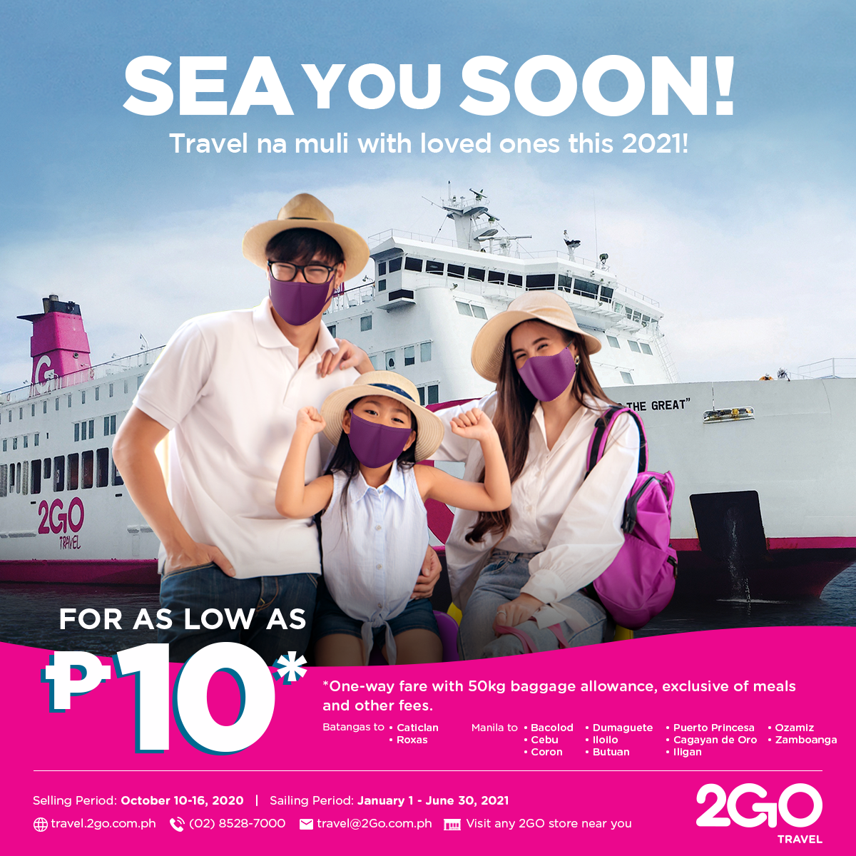 P10 Ticket Sale with 2Go Travel | Sea You Soon! Plan 2021 Local Travels With Your Family